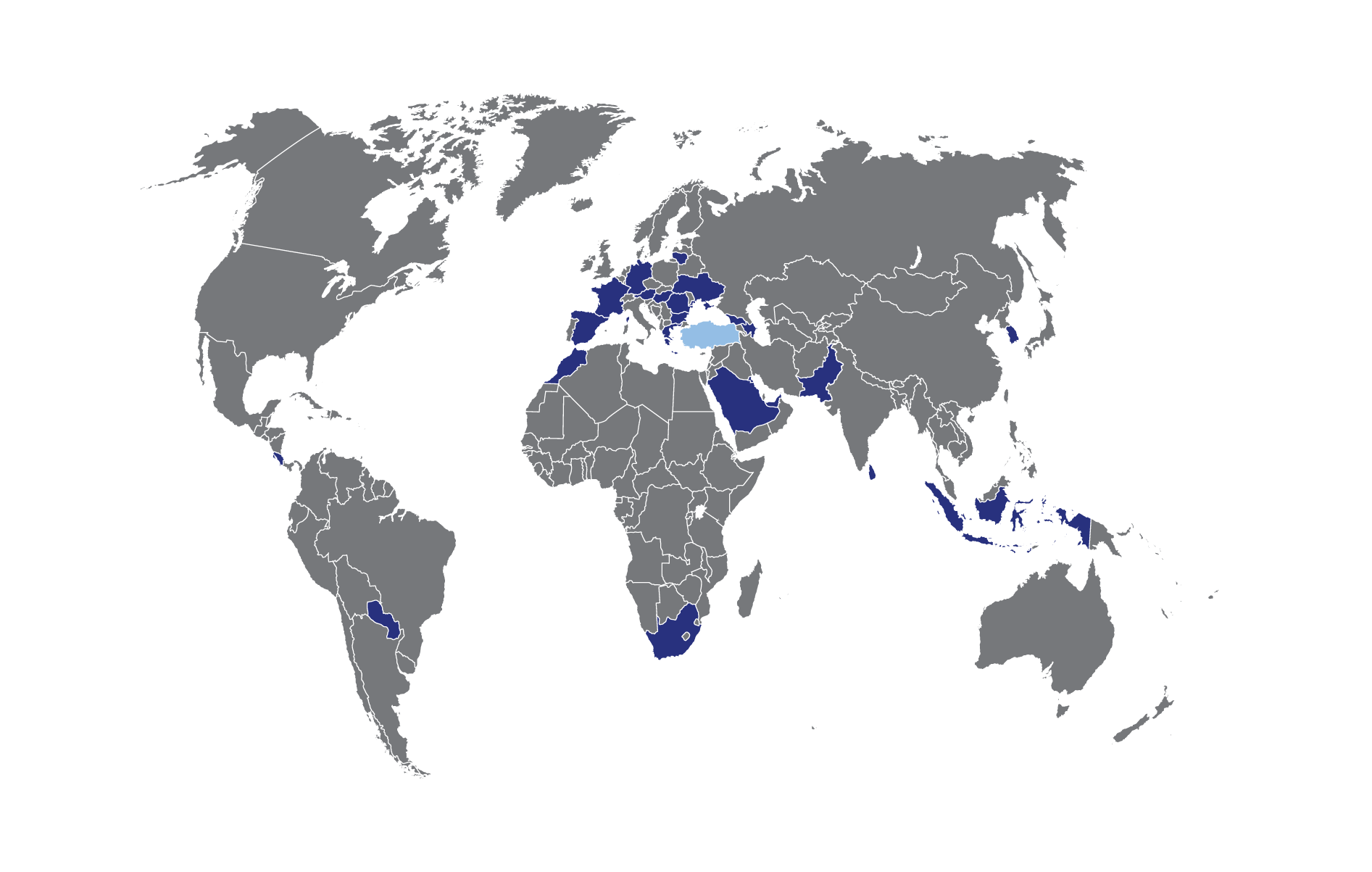 Inspramed World Map with D.med & Production site (Turkey) locations marked